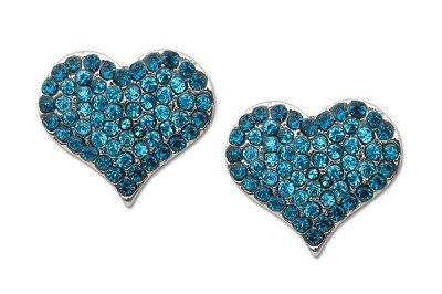Sassy Clips Silver Petite Heart with Light Sapphire Crystal Rhinestones and Aquamarine Crystal Rhinestone Rim