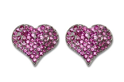 Sassy Clips Silver Petite Heart with Fuchsia Crystal Rhinestones