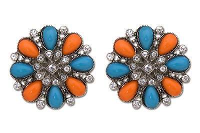 Sassy Clips Southwestern Antique Silver Jewels with Acrylic Turquoise-Coral Stones and Clear Crystal Rhinestones