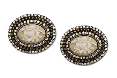 Sassy Clips Gun Metal Rose Cameo with Clear Crystal Rhinestones and Gold Braiding Rows and Ivory Rose Center