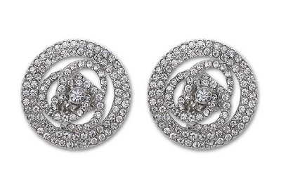 Sassy Clips Silver Whimsical Swirls with Clear Crystal Rhinestones